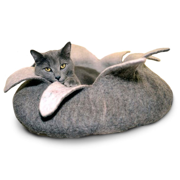 Wool Felt Petal Cave Bed, Grey & White (2 sizes)