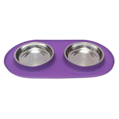 Double Silicone Cat Feeder with Stainless Steel Bowls, 3 Colours Available