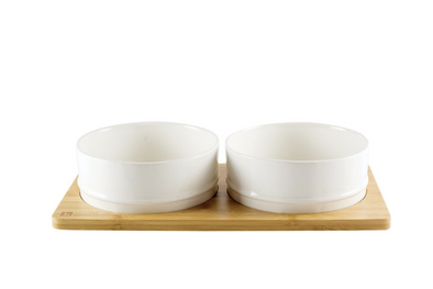 Ceramic Bowls with Bamboo Base - White