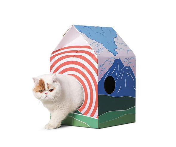 Cat Scratcher House- Japanese Fuji Pattern
