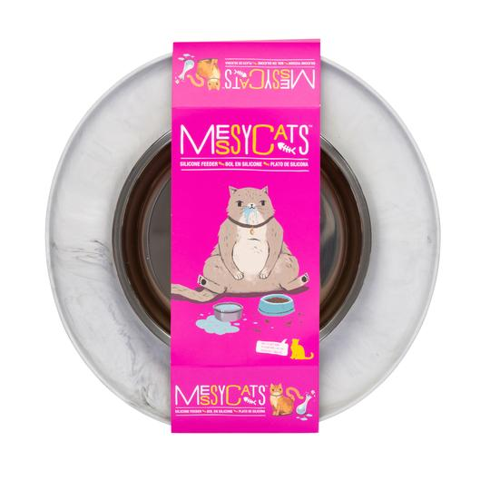Single Silicone Cat Feeder with Stainless Steel Bowl - Marble
