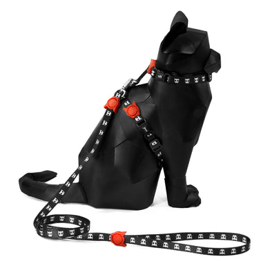 Adjustable Cat Harness & Leash Set - Skull