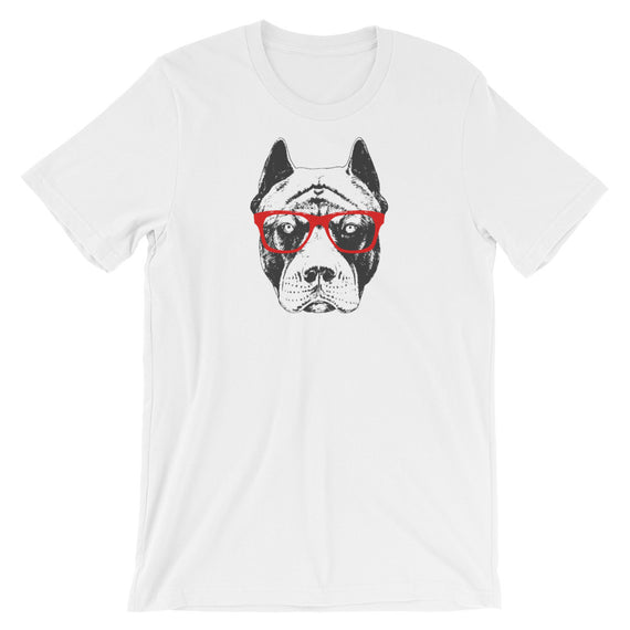 Pit Bull With Red Glasses T-Shirt