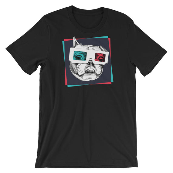 Boston Terrier Wearing 3D Glasses T-Shirt - Doggo Clothing Company