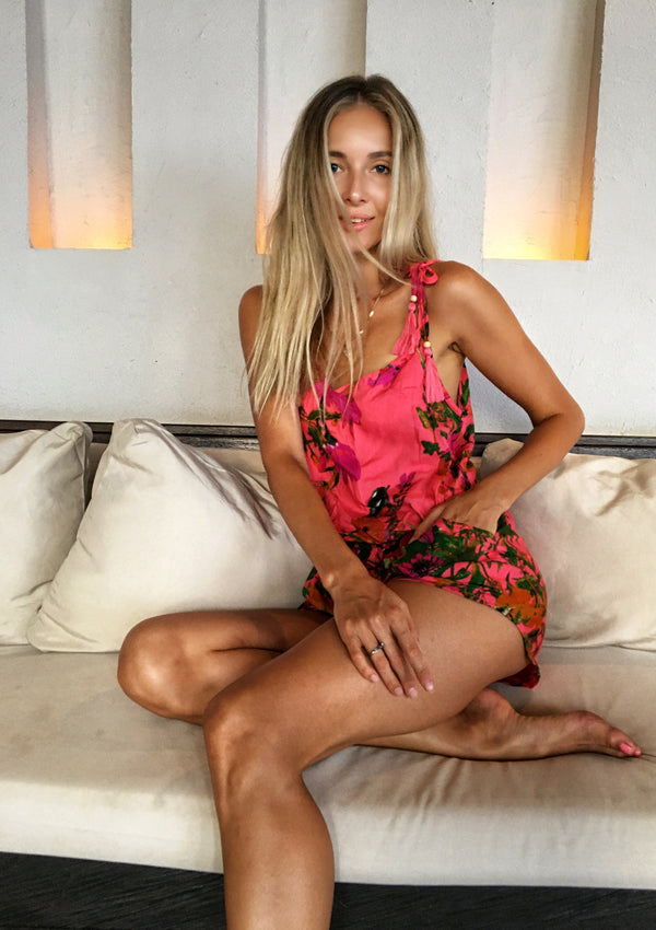Alyona Playsuit Tropical Coral-Pink