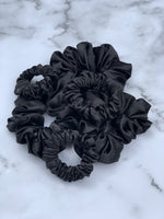 Silk Satin Scrunchie Mini - Black