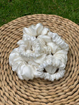 Silk Satin Scrunchie Mini - White