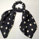 Silk Mini Scrunchie and Scarf Set - Navy with Ivory Spot