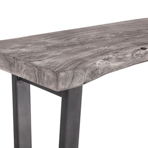 New Orleans 68 Inch Weathered Gray Live Edge Dining Bench 3foxden