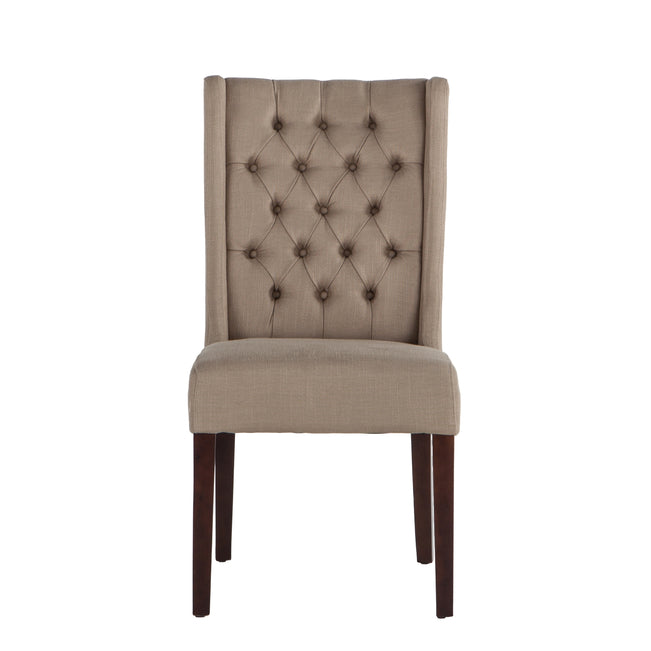 Awesome Chloe Warm Beige Dining Chairs With Dark Walnut Legs Set Of 2 Caraccident5 Cool Chair Designs And Ideas Caraccident5Info