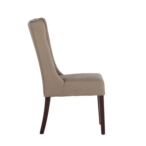 Superb Chloe Warm Beige Dining Chairs With Dark Walnut Legs Set Of Caraccident5 Cool Chair Designs And Ideas Caraccident5Info