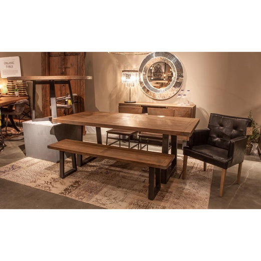 Incredible Edinburgh 64 Inch Mango Wood Dining Bench In Weathered Teak Finish Gmtry Best Dining Table And Chair Ideas Images Gmtryco