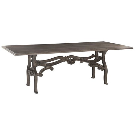 Super Anderson 90 Inch Weathered Gray Dining Table With Reclaimed Iron Base Creativecarmelina Interior Chair Design Creativecarmelinacom