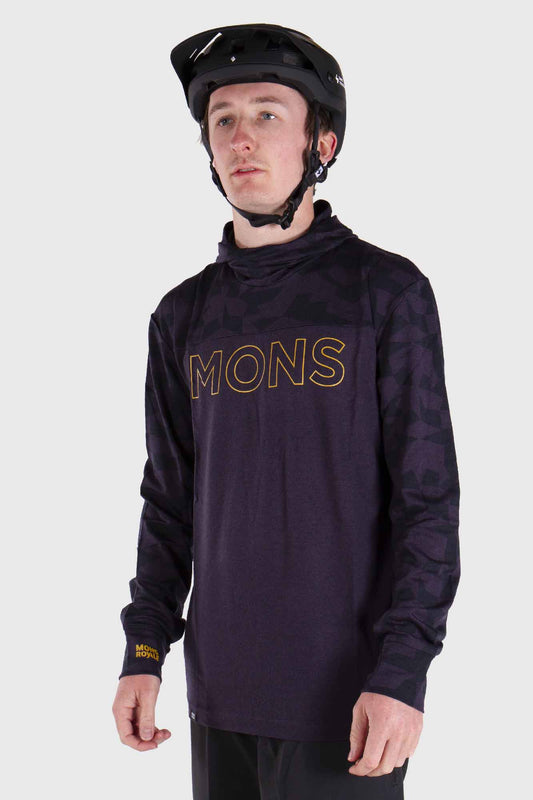 Mons Royale Yotei Powder Hood Long Sleeve Merino Jersey Iron Camo