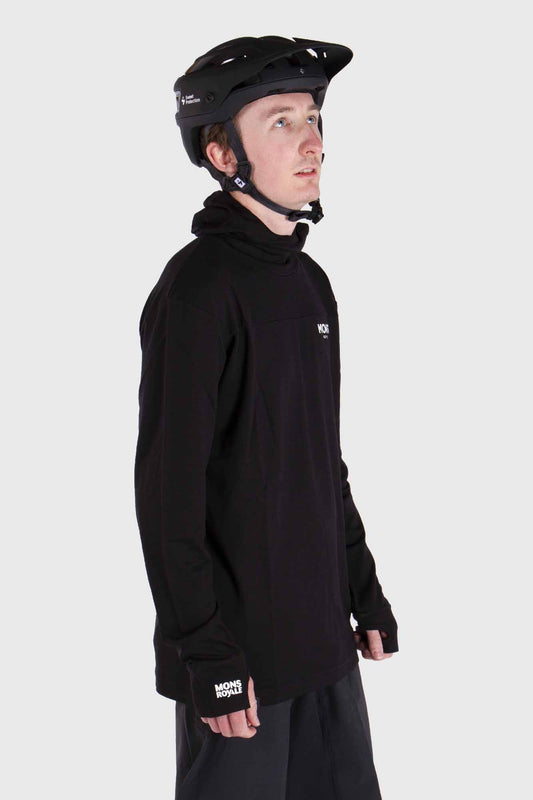 Mons Royale Yotei Powder Hood Long Sleeve Merino Jersey Black