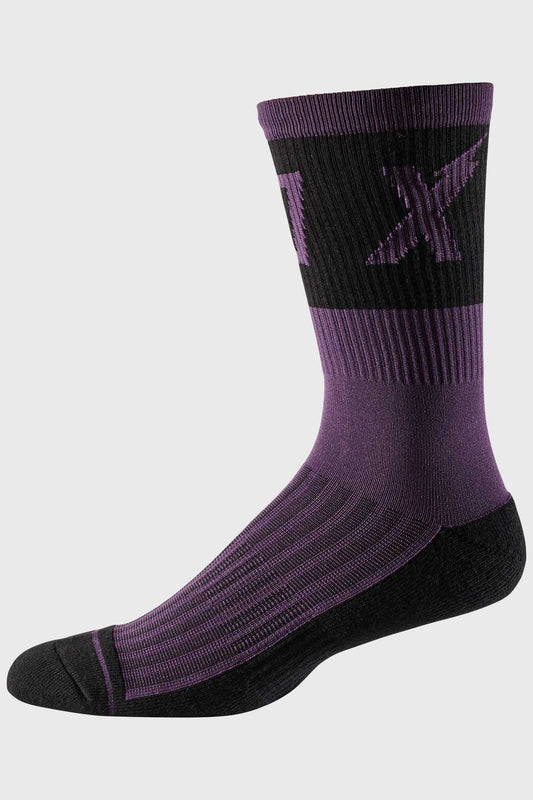 Fox 8 Inch Trail Cushion Sock Wurd - Dark Purple