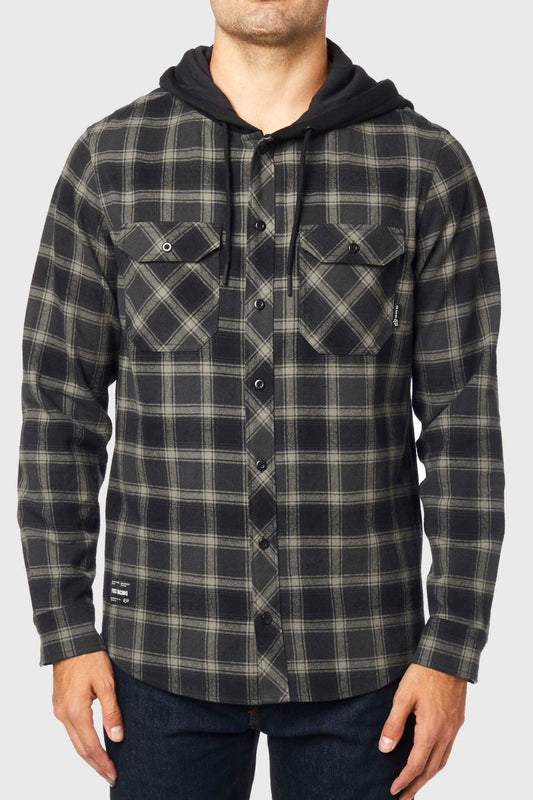 Fox Avalon Hooded Flannel Shirt - Black