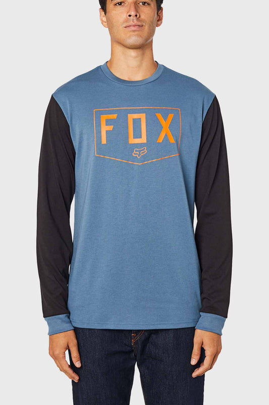 Fox Shield Long Sleeve Tech Tee - Blue Steel