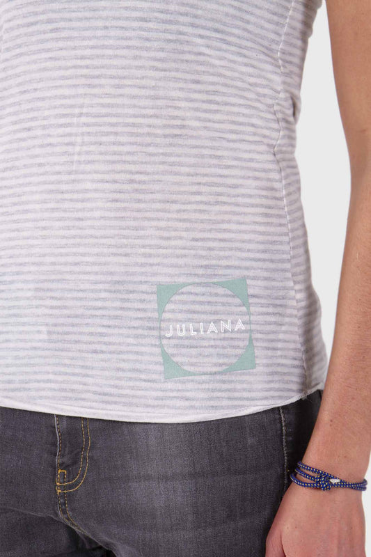 Juliana Stripe Tank - Grey