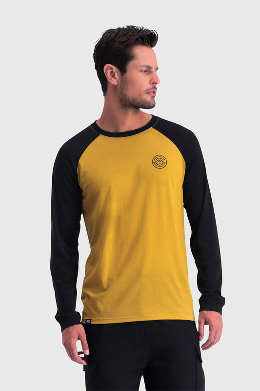 Mons Royale Icon Raglan LS Black/Tumeric