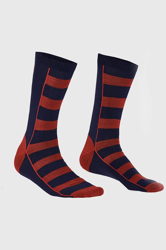 Mons Royale All Rounder Stripes Crew Sock Navy Red
