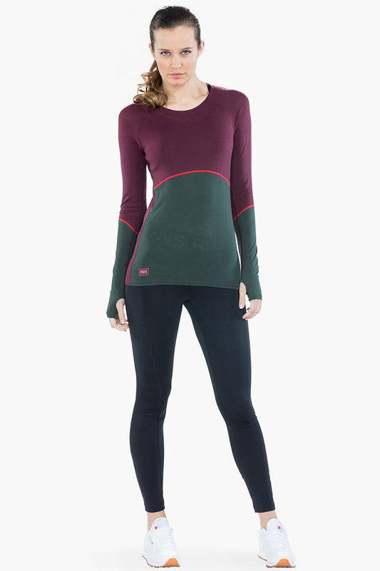 Mons Royale Bella Tech LS Burgundy / Forest Green