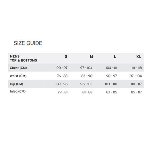 Mons Royale Merino Men's Size Guide