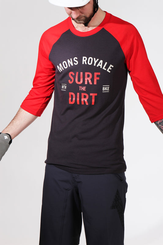 Mons Royale Redwood Raglan 3/4 Red