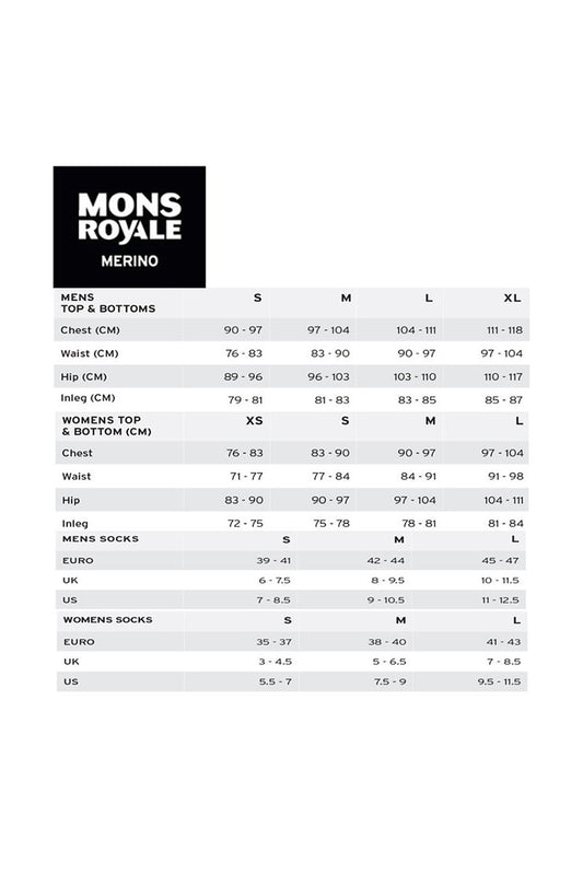 Mons Royale Size Guide