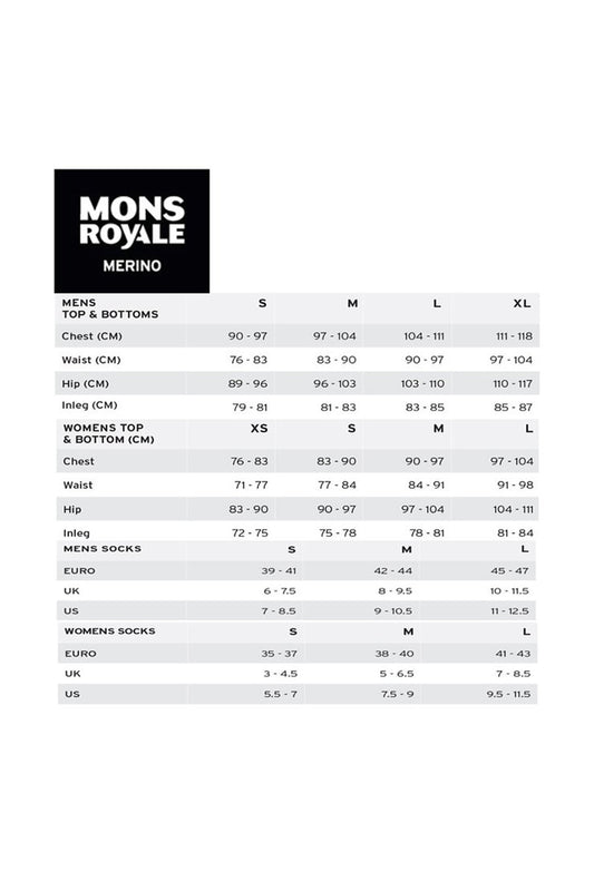 Mons Royale Size Guide Women's Jersey