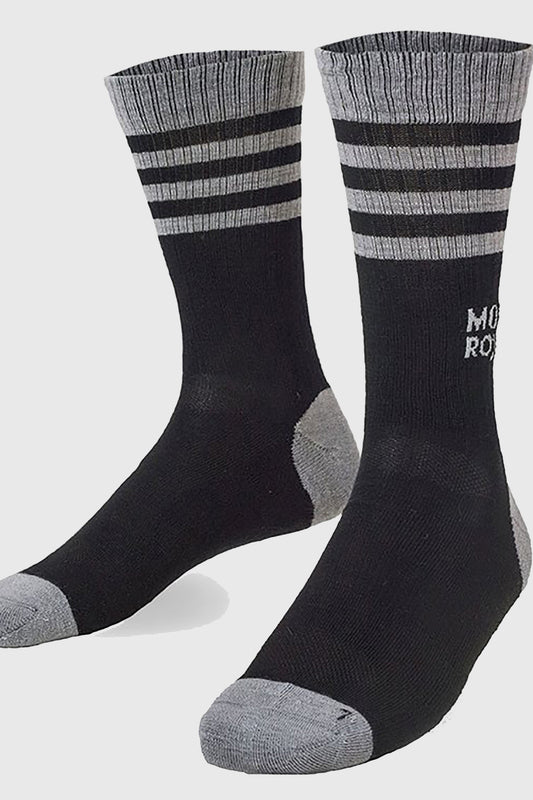 Mons Royale Ribbed Mid Calf Black and Grey Sock