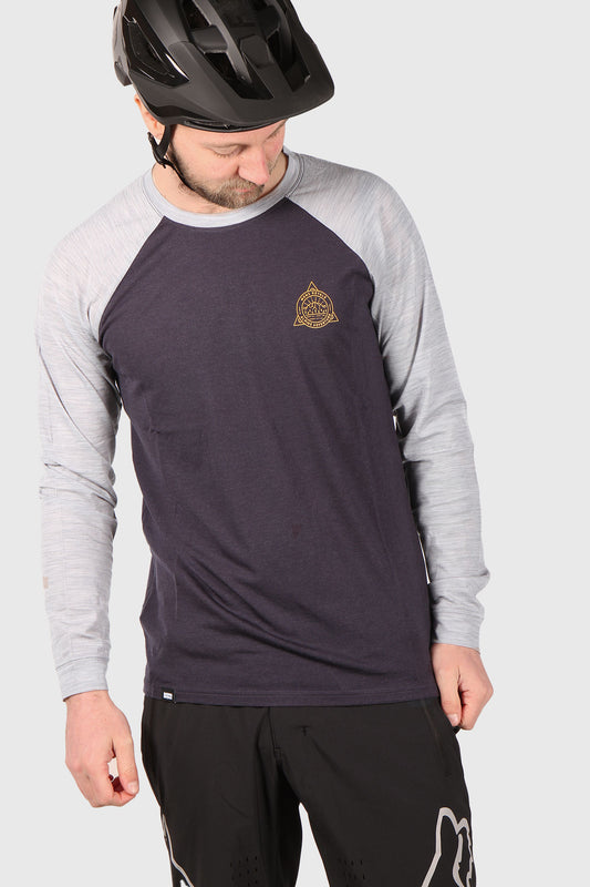 Mons Royale Icon Raglan LS - 9 Iron / Grey Marl