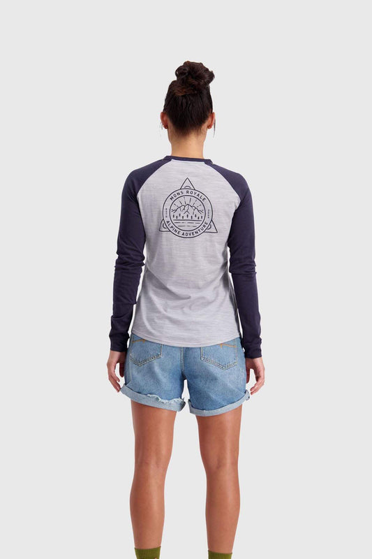 Mons Royale Womens Icon Raglan LS - 9 Iron / Grey Marl