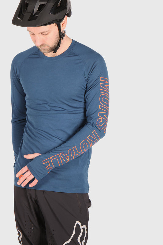 Mons Royale Temple Tech Long Sleeve Merino Jersey - Atlantic