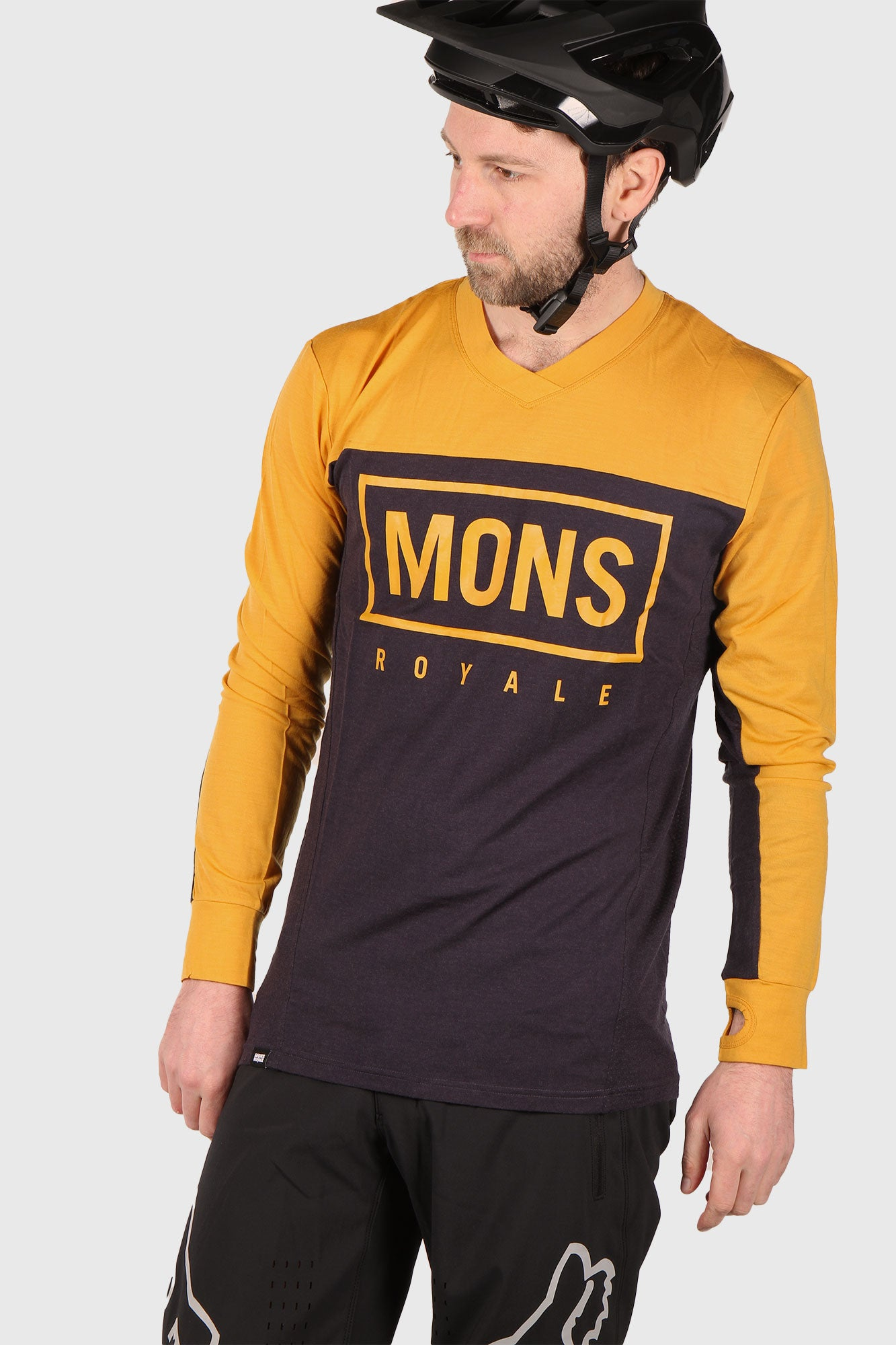 Mons Royale Redwood V Long Sleeve Merino Riding Jersey - Gold/9 Iron