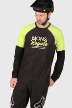 Load image into Gallery viewer, Mons Royale Tarn Freeride LS Wind Jersey - Black / Sonic Lime