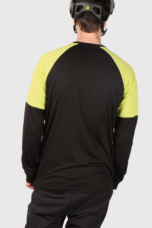 Mons Royale Tarn Freeride LS Wind Jersey - Black / Sonic Lime
