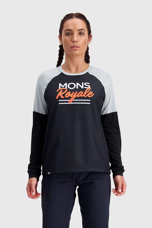 Mons Royale Womens Tarn Freeride LS Wind Jersey - Black / Grey