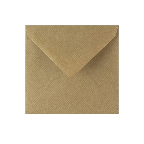 130 x 130 Brown Ribbed Gummed Diamond Flap Greeting Envelopes [Qty 1,000] (2131128811609)