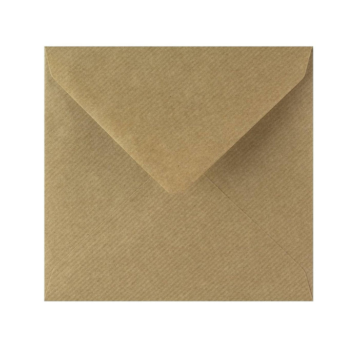 155 x 155 Brown Ribbed Gummed Diamond Flap Greeting Envelopes [Qty 1,000]