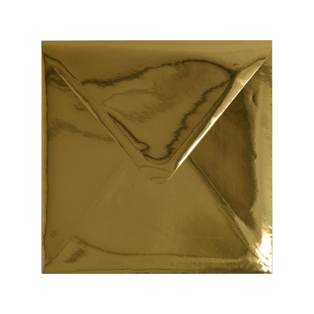 220 x 220 Square Metallic Gold Mirror Finish 120gsm Gummed Envelopes [Qty 50] (2131247366233)