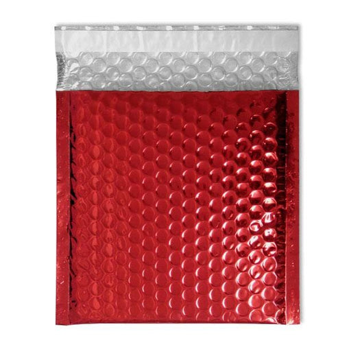 165 x 165 Metallic Red Padded Bubble Envelopes [Qty 100]