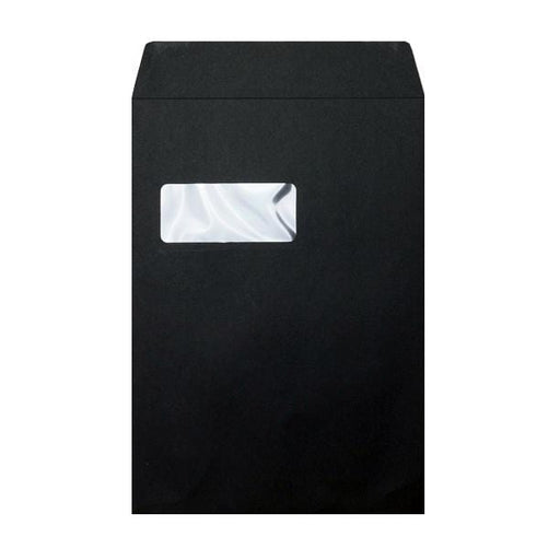 C4 Black Window Luxury 180gsm Peel & Seal Envelopes [Qty 200] 229 x 324mm