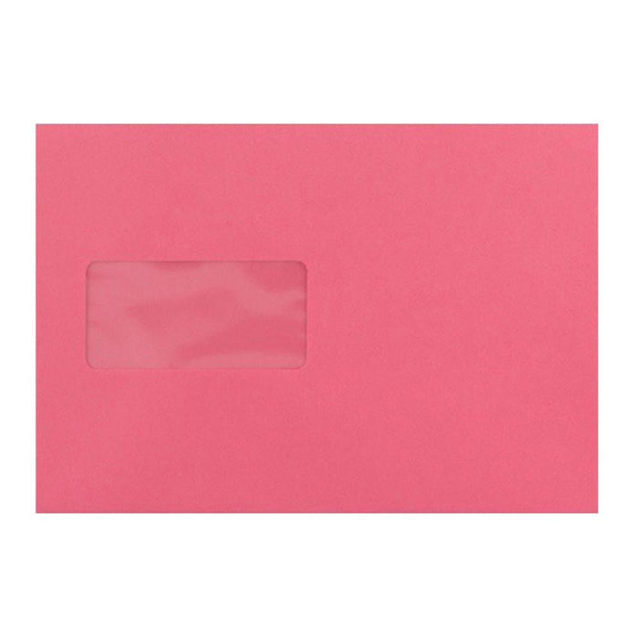 C5 Cerise Pink Window Envelopes [Qty 500] 100gsm Peel & Seal 162 x 229mm