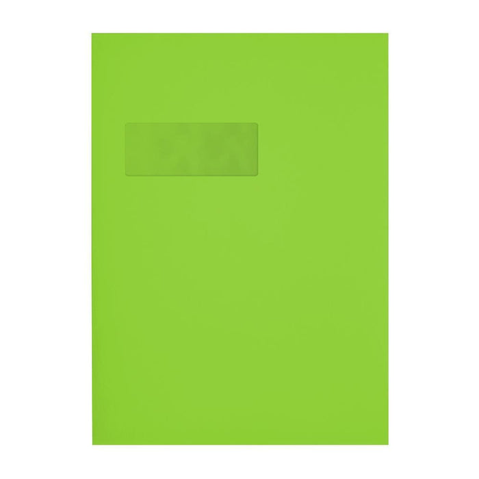 C4 Lime Green Window 120gsm Peel & Seal Envelopes [Qty 250] 229 x 324mm (2131098206297)