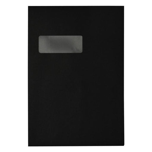 C4 Black Gusset Window 140gsm Peel & Seal Envelopes [Qty 125]