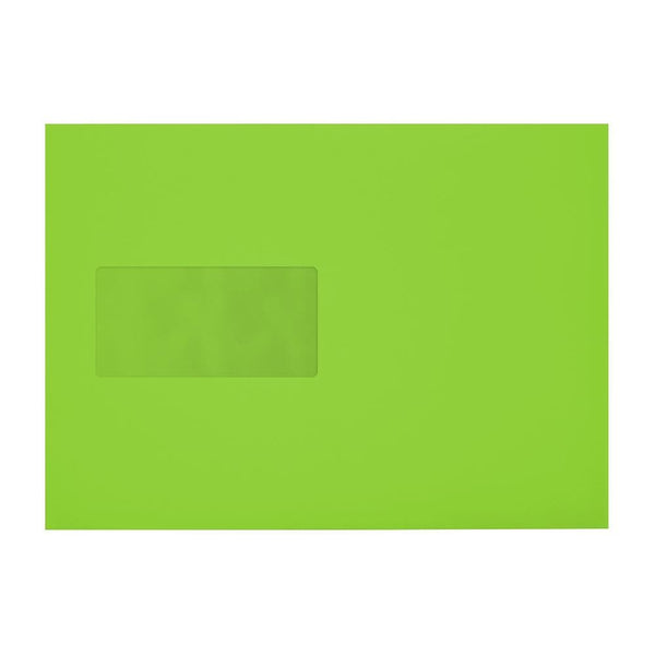 C5 Lime Green 120gsm Gummed Mailing Window Envelopes [Qty 500] 162 x 235mm