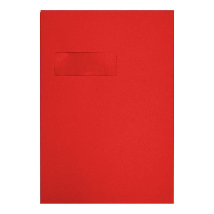 C4 Red Gusset Window 140gsm Peel & Seal Envelopes [Qty 125] 229 x 324mm (2131191857241)