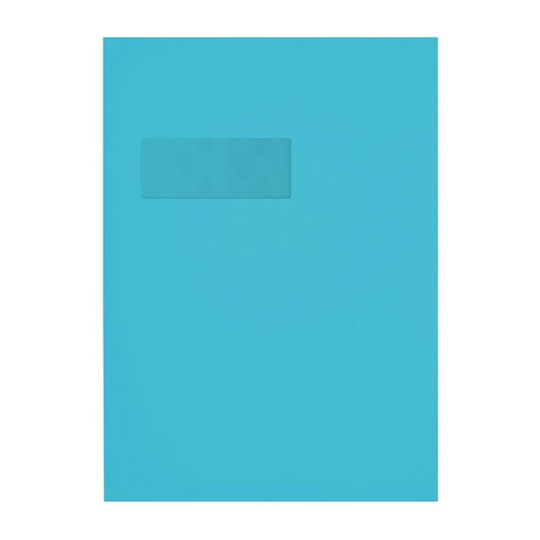 C4 Pacific Blue Window 120gsm Peel & Seal Envelopes [Qty 250] 229 x 324mm (2131098566745)