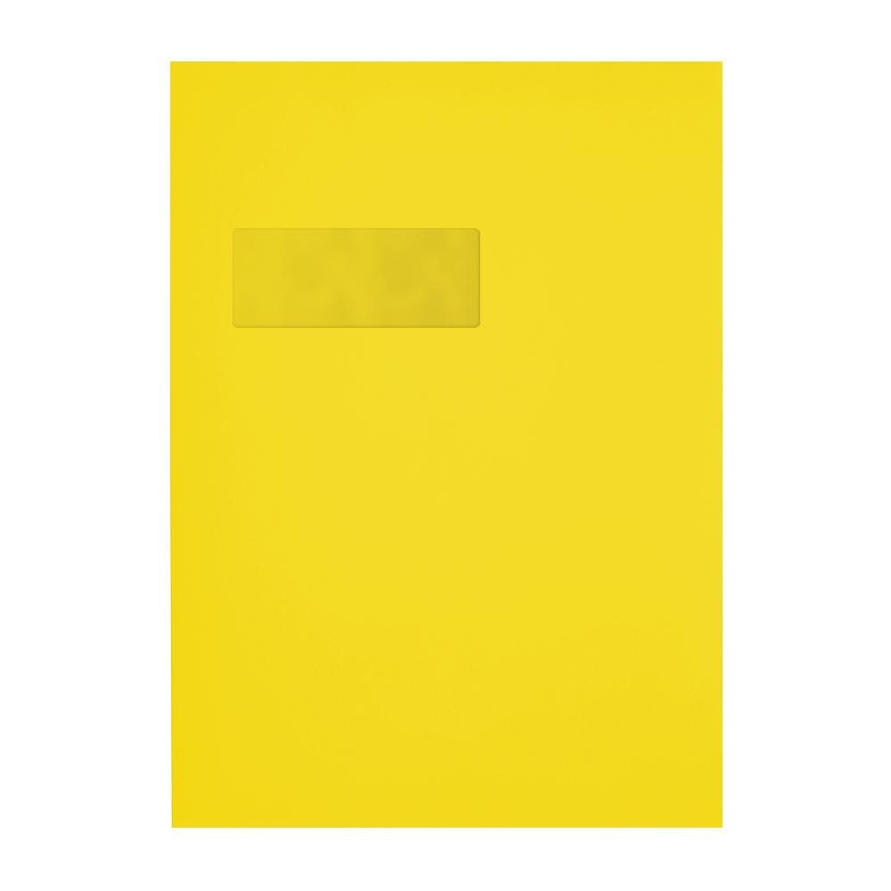 C4 Canary Yellow Window 120gsm Peel & Seal Envelopes [Qty 250] 229 x 324mm